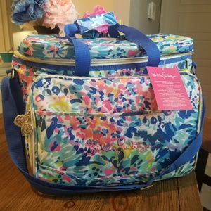 Lilly Pulitzer Cooler Picnic Pack Bag Wine Cups